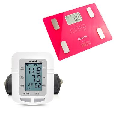 鱼跃 上臂式家用电子血压计YE660D 血压仪 高血压仪*1件 + 欧姆龙 身体脂肪测量器 HBF-212 脂肪秤 电子秤 智能健康体脂仪*1件